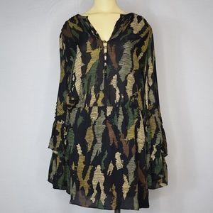 Parker | Double Flare Sleeve Camo Dress M